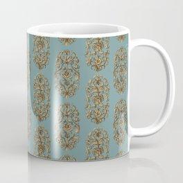 Baroque Flowers Pattern - Blue Tan Brown Coffee Mug