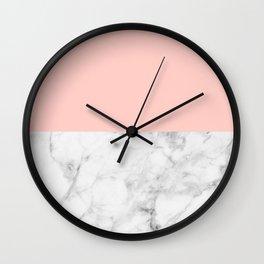 White Marble & Peach Wall Clock