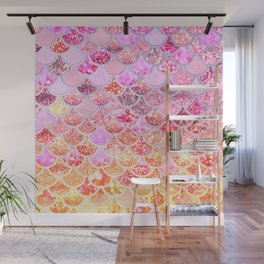 Rosegold & Gold Trendy Glitter Mermaid Scales Wall Mural