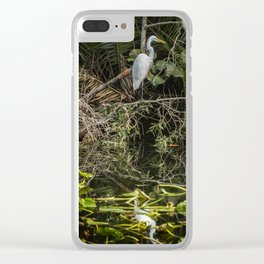 Great White Egret on a Branch Clear iPhone Case