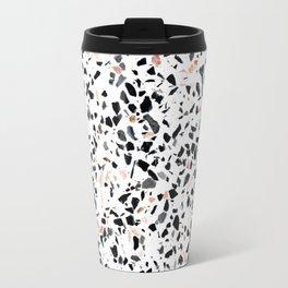 Terrazzo Stone Pattern Black and Orange Peach Travel Mug