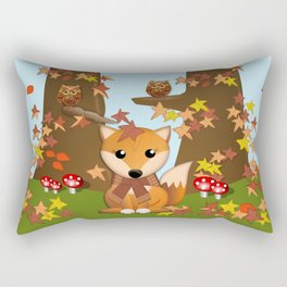 Fall fox, owls and leaves, vector illustration Rectangular Pillow