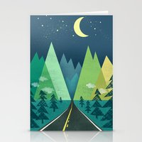 road Stationery Cards featuring The Long Road at Night by Jenny Tiffany