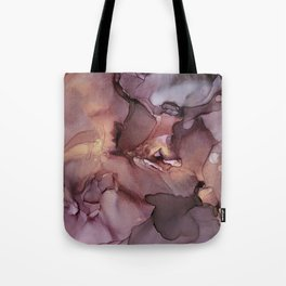 Ink Swirls Painting Lavender Plum Gold Flow Tote Bag