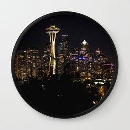Seattle Cityscape At Night Wall Clock