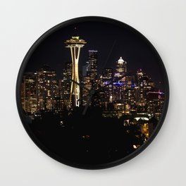 Seattle Cityscape At Night Wall Clock