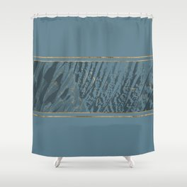 Blueprint  Feather and Gold 2 Shower Curtain