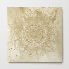 tan splash mandala swirl Metal Print
