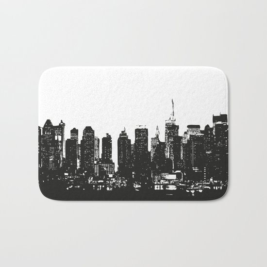 New York black and white high quality art print Bath Mat