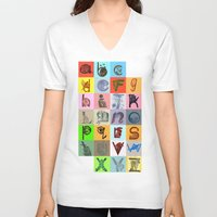 alphabet V-neck T-shirts featuring Alphabet by minouette