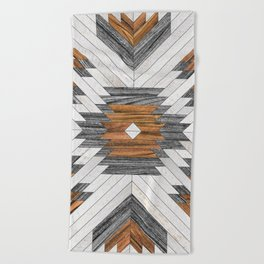 Urban Tribal Pattern 8 - Aztec - Wood Beach Towel