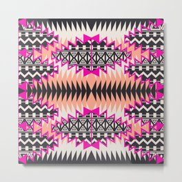 Tribal Beat Geo Magenta Metal Print