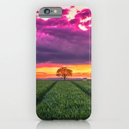 Lonely Tree On Meadow At Beautiful Evening Red Ultra HD iPhone Case