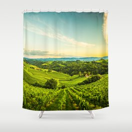 Vineyards landscape panorama. South Styria, Austria Shower Curtain