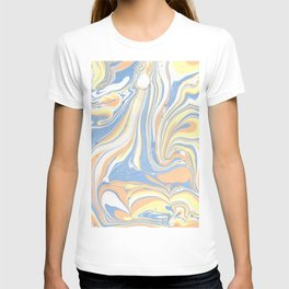 Blush yellow orange blue abstract watercolor marble T-shirt