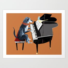 Piano lesson ( Doggy Art ) Art Print