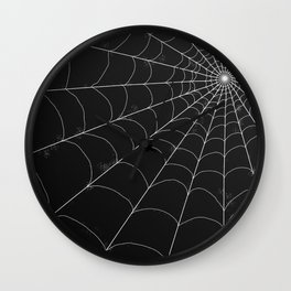 Spiderweb on Black Wall Clock