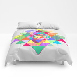 Sri Yantra triangles Comforters