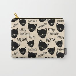Funny black ivory kitty cat modern typography Carry-All Pouch