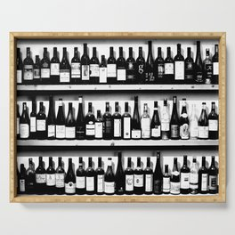 Wine Bottles in Black And White #decor #society6 #buyart Serving Tray