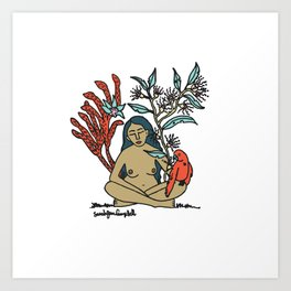 Woman with King Parrot Art Print