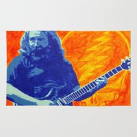 grateful dead Area & Throw Rugs featuring Jerry Garcia - The Grateful Dead by Tipsy Monkey