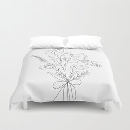 Small Wildflowers Minimalist Line Art Duvet Cover