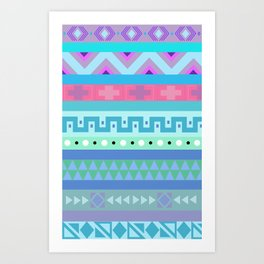 Calm Colored Tribal Print Art Print