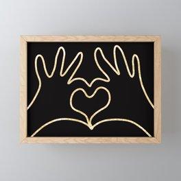Golden Hands in Love Framed Mini Art Print