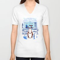 8bit V-neck T-shirts featuring 8bit Who by Bamboota