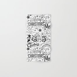 Black and White Christmas Typography Design Hand & Bath Towel
