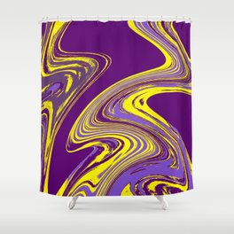 Purple and Yellow Fluid Painting Shower Curtain