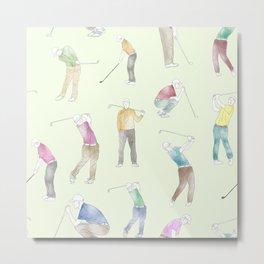 Watercolor Golfers // Goldenrod Metal Print