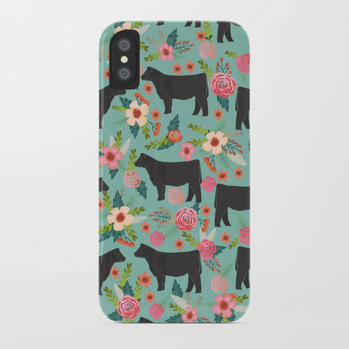 show steer cattle breed floral animal cow pattern cows florals farm gifts iphone case