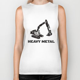 Heavy Metal Digger Funny Cute Backhoe Bulldozer Black Biker Tank