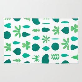 Leaf Shapes and Arrangements Pattern Bright Rug