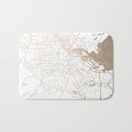 Amsterdam White on Gold Street Map II Bath Mat