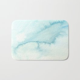 Abstract hand painted blue teal watercolor paint pattern Bath Mat