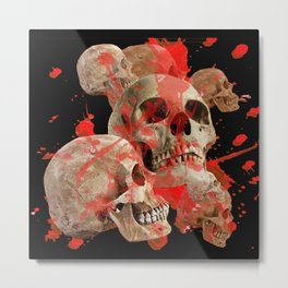 MACABRE BLOOD & SKULLS BLACK  ART Metal Print
