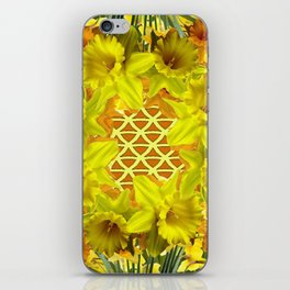 GOLDEN YELLOW SPRING DAFFODILS PATTERN GARDEN iPhone Skin