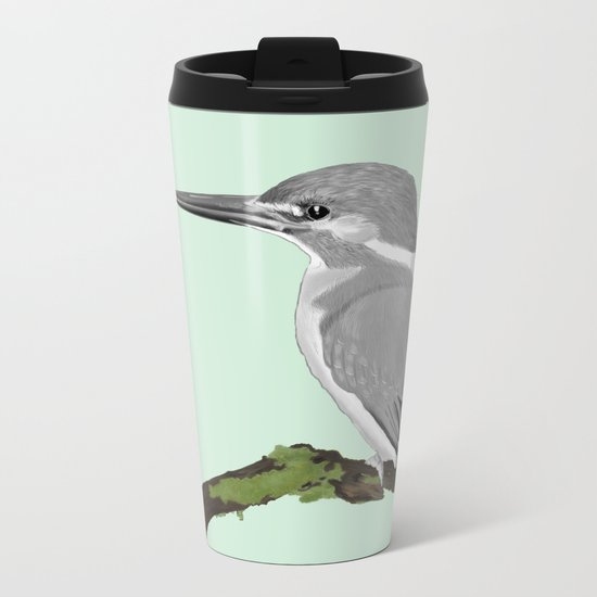 Kingfisher in gray Metal Travel Mug
