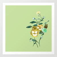 decal Art Prints featuring Pansy Decal Green & Gold by ThistleandFox