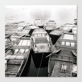 Boats in Vietnam Black and White Fine Art Print  • Travel Photography • Wall Art Canvas Print