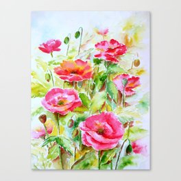 Watercolor pink and red poppies Canvas Print