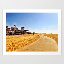 Twisting Bike Path - Santa Monica Beach, California Art Print
