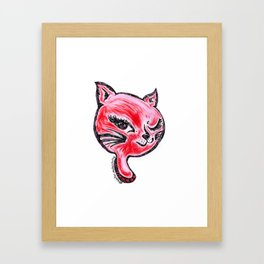 Winking Kitty Red Framed Art Print