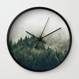 Foggy Mountain Side Wall Clock