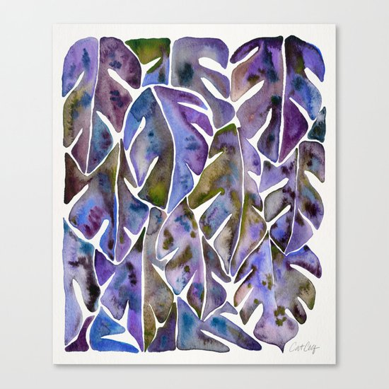 Split Leaf Philodendron – Purple Canvas Print