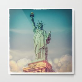 The Statue of Liberty - Polaroid and Bokehs Metal Print