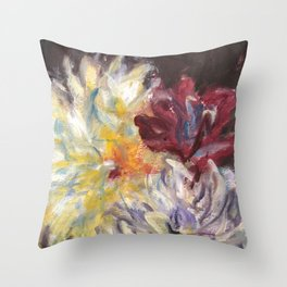 Dahlias On Black Background I Throw Pillow
